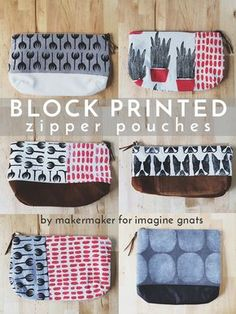 sewing: block printed zipper pouches - imagine gnats - - Contributor Sarah conquers her fear of sewing zippers with these adorable block printed zipper pouches. Sewing Hacks, Sewing Tutorials, Sewing Projects, Sewing Patterns, Bag Tutorials, Purse Patterns, Beginners Sewing, Tutorial Sewing, Tutorial Crochet