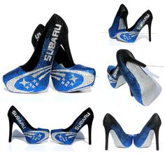 Silver Subaru Heels with Ombre Black and Blue Glitter and Swarovski Crystals by Wicked Addiction #SubaruHeels #CustomHeels #CrystalHeels #Subaru