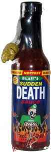 Blair's Sudden Death Hot Sauce, 5oz  Take Mounds of Fresh Red Habaneroes, Mash Um Up. Slice Up Some Firery Cayenne Chilies, Squeeze in The Lime Juice and WAIT...Dont Forget the Clover Honey and Ginseng and We Have Blairs Sudden Death. FEEL ALIVE   Heat Rating- Extreme!!