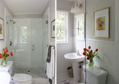 Reader Redesign: Green With Envy | Young House Love Amazing, tiny master bath with killer shower.  (Hex marble tiles . . . need I say more? ;o)