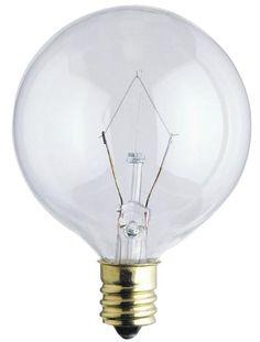25 Watt G16 1/2 Incandescent Light Bulb, 2650K Clear E12 (Candelabra) Base, 130 Volt, Box