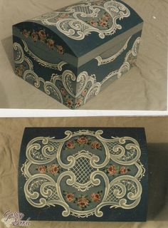 tole pattern trunk | ... Painting Bookstore Victorian Lace Blue Trunk - Charles Johnson