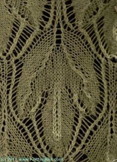 Sassafras Leaf Lace ... from Knittingfool Stitch Detail ... many, many stitches on this website!