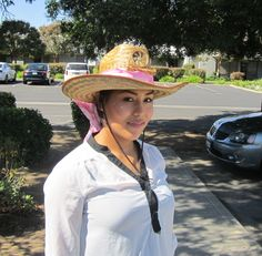 Ladies cowgirl solar hat in pink scarf