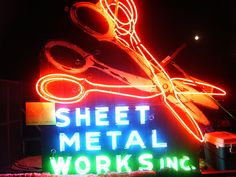 Sheet Metal Neon sign by call to preserve, via Flickr