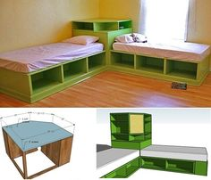 DIY Corner Unit for the Twin Storage Bed - Space Saving Idea - Diy Furniture Ideas Corner Twin Beds, Bed In Corner, Corner Unit, Corner Hutch, Corner Space, Desk Space, 2 Twin Beds, Space Boy, Corner Office
