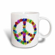 3dRose Peace Sign Flower Power Design, Ceramic Mug, 11-ounce