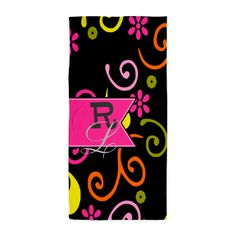 Retro Floral Pattern Monogram Beach Towel