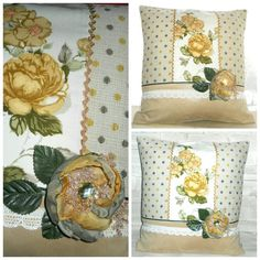 Unique handmade pillow dots and yellow flowers by AStoryStore