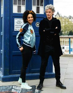 Peter Capaldi and Pearl Mackie pose in front of the TARDIS and a huge 3D pavement painting artwork by 3D Joe & Max depicting an alien landscape on the Southbank on April 12, 2017 in London. (Photos by Tim P. Whitby)