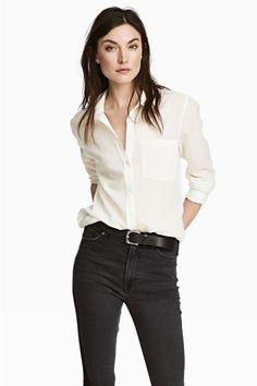 Katoenen overhemdblouse - Wit/gestreept - DAMES | H&M NL 1