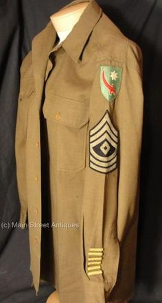 WWII Persian Gulf Command  First Sergeant  Uniform Shirt complete with PATCHES