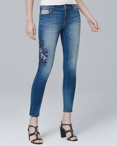 ba643725b8658b Women s Floral-Embroidered Crop Jeans by White House Black Market Nyc  Fashion