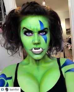 """#Repost @bamflol with @repostapp.  To celebrate the release of @worldofwarcraftofficial and @legendary trailer of """"Warcraft"""" here's my Garona Halforcen look! Link to the tutorial is in my bio! #forthehorde !! Products used:  Face/Body:  @mehronmakeup Green paradise paint all over my body and blue for the markings.  @urbandecaycosmetics """"Electric"""" palette """"Fringe"""" for contouring. """"Freak"""" for blending and perfecting certain green areas. """"Thrash for highlights.  @nyxcosmetics Primal colours in…"""