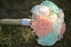 Hey, I found this really awesome Etsy listing at https://www.etsy.com/listing/218876880/small-wedding-bouquet-ivory-mint-and