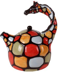 Loving this Orange & Red Giraffe Teapot on Giraffe Art, Teapots And Cups, Ceramic Teapots, Chocolate Pots, Tea Set, Tea Time, Tea Party, Tea Cups, Mugs