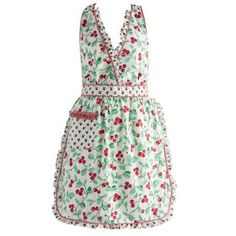 Take your snazzy retro style from the kitchen to the cocktail party in the Cheri Cherry Vintage Apron from Design Imports. A ruffle-edged pocket holds utensils and add feminine flair. Made of cotton, the apron is machine washable. Red Apron, Retro Diner, Cute Aprons, Flirty Aprons, Apron Designs, Sewing Aprons, Sewing Clothes, Women's Clothes, Apron Pockets