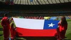Chile players sing the National Anthem