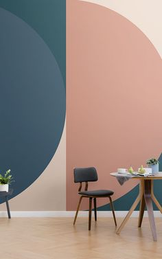 Distinctive and arresting, the Jacobsen Retro Geometric Wall Mural tastefully engages modern materials to enhance a mid-century modern design. A bold wallpaper print displaying contrasting hues… Retro Dining Rooms, Retro Wallpaper, Wallpaper Designs, Interior Design Wallpaper, Retro Interior Design, Geometric Wallpaper, Print Wallpaper, Mid Century Modern Decor, World Of Interiors