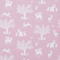 Hibou home wallpaper 'enchanted woodland' pink
