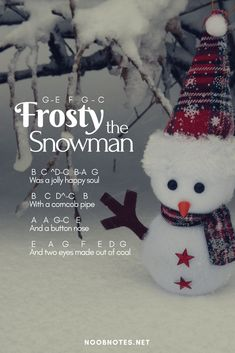 Frosty the Snowman - Traditional music notes for newbies: Frosty the Snowman – Traditional. Play popular songs and traditional music with note letters for easy fun beginner instrument practice - great for flute, piccolo, recorder, piano and Music Notes Letters, Piano Sheet Music Letters, Clarinet Sheet Music, Easy Piano Sheet Music, Piano Music Notes, Guitar Sheet, Christmas Piano Music, Frosty The Snowmen, Snowman