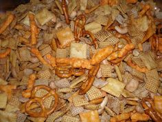 Chex Mix all pimped up.  This is seriously addicting!