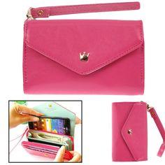 Wow!!! De perfecte combinatie van een portemonnee en een telefoonhoesje. Je hebt voldoende plaats voor je pasjes, kleingeld en biljetten. Uitgevoerd in PU leer en een vrolijke kleur. Leather Case, Leather Wallet, Htc One, Card Case, Magenta, Samsung, Bling, Zipper, Iphone