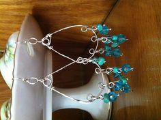 Teal blues silver wire earrings