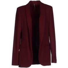 Manila Grace Blazer (325 CAD) ❤ liked on Polyvore featuring outerwear, jackets, blazers, maroon, multi pocket jacket, collar jacket, purple jacket, manila grace and single breasted jacket