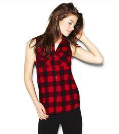Boyfriend Sleeveless Plaid Shirt. #plaid #backtoschool