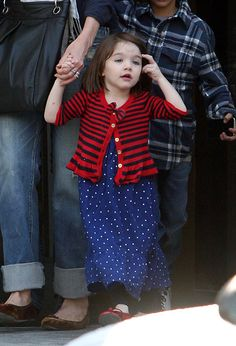 Suri in red stripe sweater + blue dress polkadot = sweet outfit for little girl, :)
