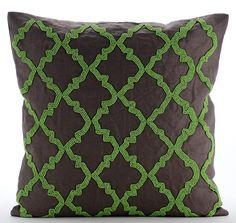 "Green Symphony - 16""X16"" Cotton Linen Brown Decorative Pillow Cover"