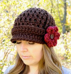 Crochet Hat for Women, Womens Fashion, Brimmed Beanie Hat with 3 Flowers, Fall Fashion. $36.00, via Etsy.