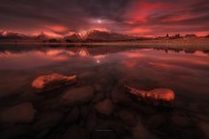 Twilight, Lake Tekapo, New Zealand - A super late burst of colors turned a…