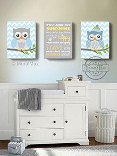 Baby Blue and Gray Owl Family Chevron Wall Art - Baby Nursery Decor OWL canvas art - Owl Canvas Set - You are my sunshine and Owl Canvas Art - Size 16x20 MuralMAX