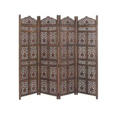 Litton Lane 80 in. x 72 in. Large Brown Wood Screen Decorative Room Divider 23782 - The Home Depot Folding Screen Room Divider, Wood Room Divider, 4 Panel Room Divider, Room Screen, Wooden Partitions, Decorative Room Dividers, Wooden Screen, Mirror Panels, Oriental Furniture