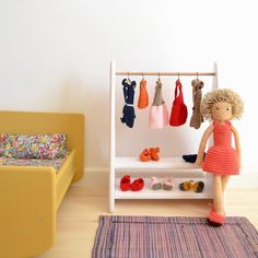 Wooden dolls bed and clothes rack #crochet