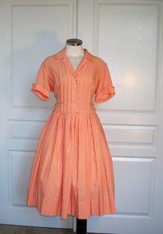60s dress // vintage 1960s shirtwaist casual by pinkvintageboudoir, $36.00