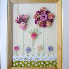 "Folksy :: Buy ""Floral Fabric Framed Picture"" 
