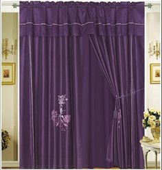 Pair of Dark Purple Embroidery Windows Curtain / Drapes / Panels with Valance and Attached Sheer Lining. by FineHome, http://www.amazon.com/dp/B005WD8RYG/ref=cm_sw_r_pi_dp_lRRHrb0JBWR6W