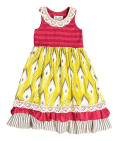 Red Stripe Peacock A-Line Dress - Infant, Toddler & Girls #zulily #zulilyfinds