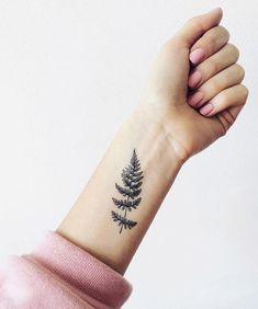 Excellent Fern Leaf Tattoo Design on Wrist For Girls