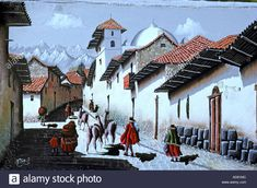 Download this stock image: PERU painting of colonial Cusco built by Spaniards with stones of Inca temples;in background Andes volcanoes;indians and llamas - AD81MC from Alamy's library of millions of high resolution stock photos, illustrations and vectors.