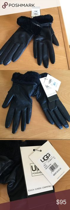 New Ugg touch screen compatible black leathe glove New black leather , cashmere lined touch screen compatible gloves . ❌price firm . UGG Accessories Gloves & Mittens