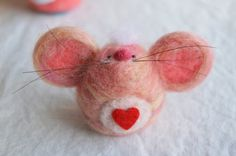 Valentine's Day OOAK handmade needle felted mouse with heart on tummy by LynnyBeeDesigns on Etsy