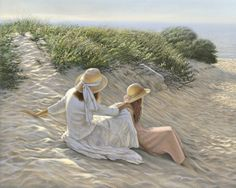 """Summer Light"" by Mark Shasha Seaside Beach, Beach Art, Seaside Art, Painting People, Figure Painting, Paintings I Love, Beautiful Paintings, Art Paintings, Am Meer"