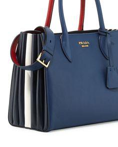 Prada BibliothÈque Medium Colorblock Tote Bag, Black/red In Blue/red Prada Bag Black, Black Tote Bag, Chanel Fashion, Fashion Bags, Blue Perfume, Simple Bags, Prada Handbags, Blue Bags, Bag Storage