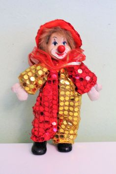 Vintage Circus Clown Doll, Porcelain Clown, Ceramic Clown Figurine, Yellow Red Costume Outfit, Red Hat by Grandchildattic on Etsy