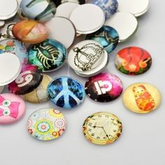 glass cabochons with printed pics