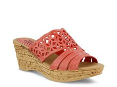 Complete your look with these Spring Step Women's Nubuck Slide Sandals - Vino. Coral Wedges, Coral Shoes, Coral Sandals, Tory Burch Sandals, Slide Sandals, Wedge Sandals, Wedge Shoes, Comfortable Flip Flops, Comfortable Shoes